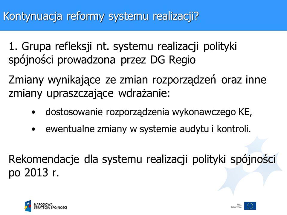 Kontynuacja reformy systemu realizacji. 1. Grupa refleksji nt.