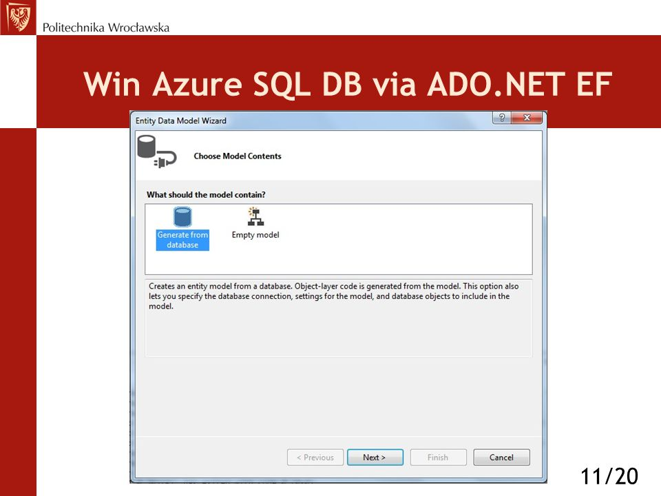 Win Azure SQL DB via ADO.NET EF 11/20