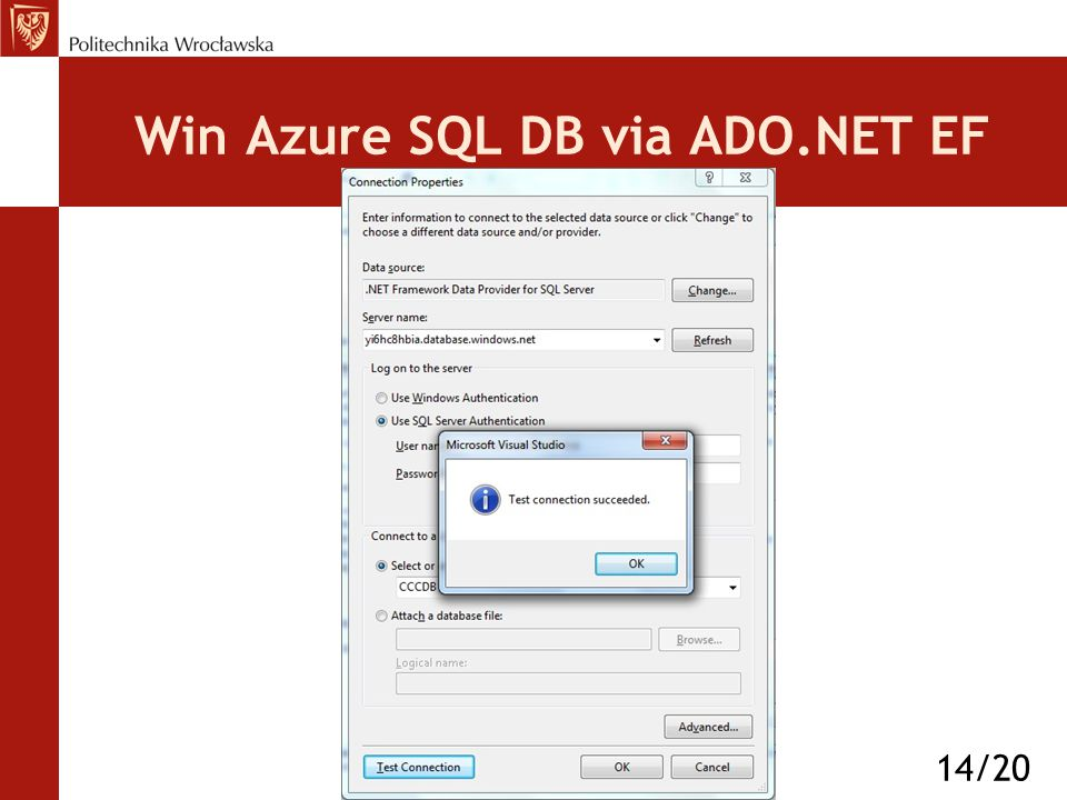 Win Azure SQL DB via ADO.NET EF 14/20