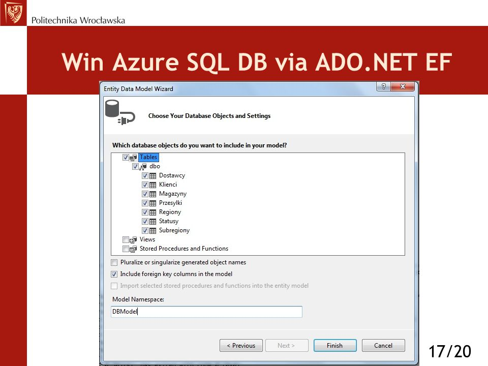Win Azure SQL DB via ADO.NET EF 17/20