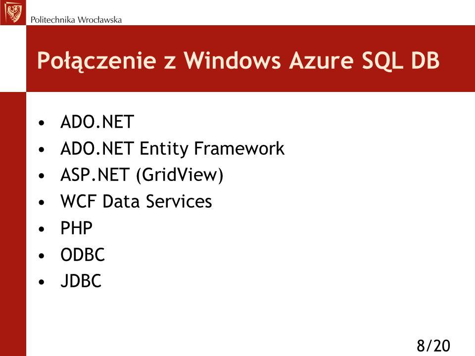 Połączenie z Windows Azure SQL DB ADO.NET ADO.NET Entity Framework ASP.NET (GridView) WCF Data Services PHP ODBC JDBC 8/20