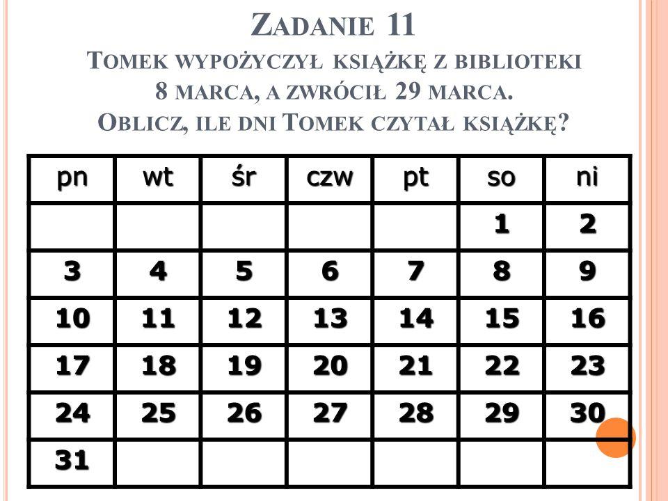 Z ADANIE 11 T OMEK WYPOŻYCZYŁ KSIĄŻKĘ Z BIBLIOTEKI 8 MARCA, A ZWRÓCIŁ 29 MARCA. O BLICZ, ILE DNI T OMEK CZYTAŁ KSIĄŻKĘ ? pnwtśrczwptsoni 12 3456789 10