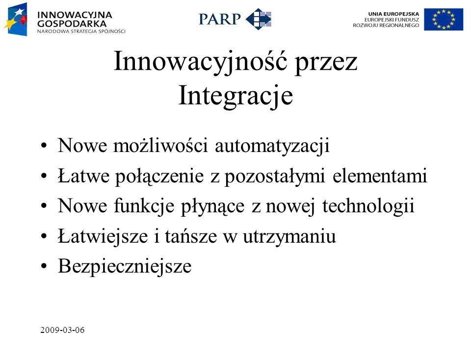2009-03-06 Innowacyjność przez Integracje Nowe możliwości automatyzacji Łatwe połączenie z pozostałymi elementami Nowe funkcje płynące z nowej technologii Łatwiejsze i tańsze w utrzymaniu Bezpieczniejsze
