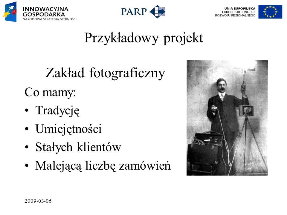 2009-03-06 Przykładowy projekt Zakład fotograficzny Co mamy: Tradycję Umiejętności Stałych klientów Malejącą liczbę zamówień