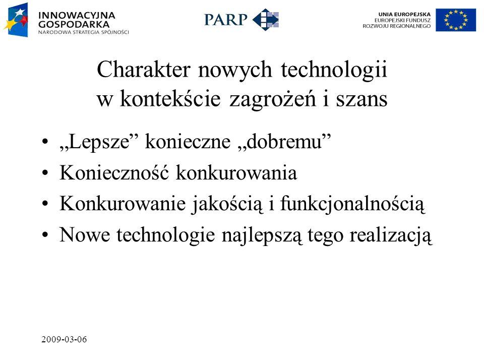 """2009-03-06 Charakter nowych technologii w kontekście zagrożeń i szans """"Lepsze konieczne """"dobremu Konieczność konkurowania Konkurowanie jakością i funkcjonalnością Nowe technologie najlepszą tego realizacją"""