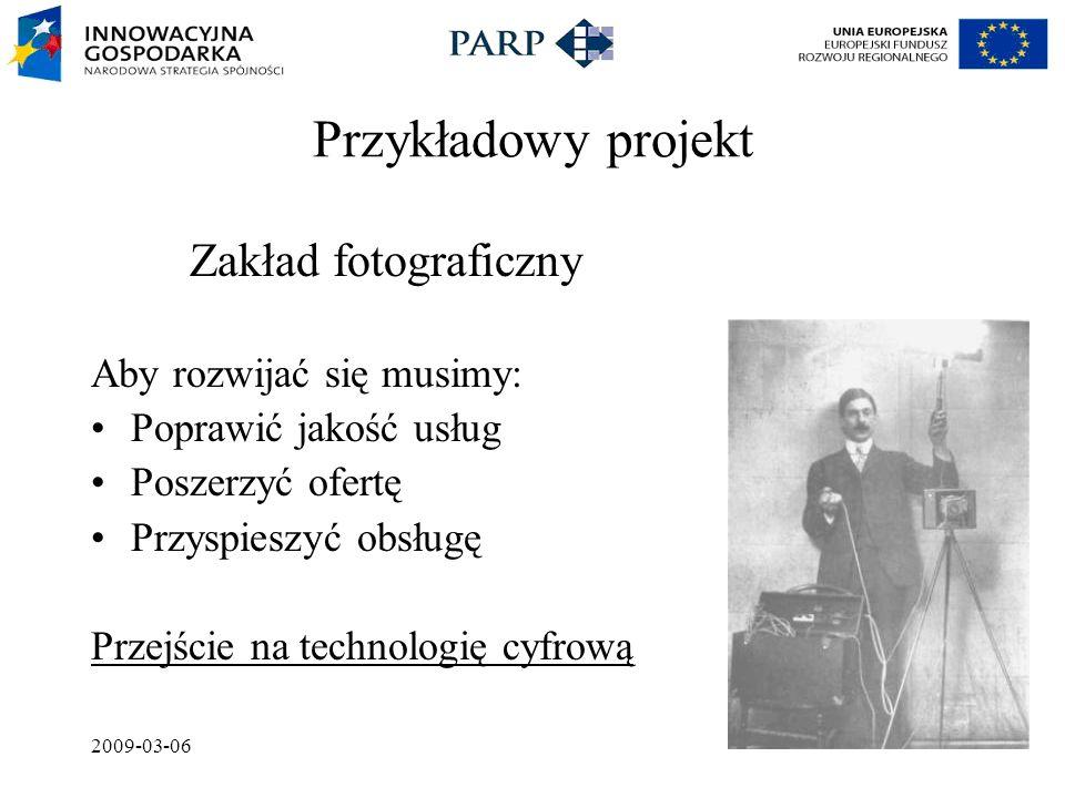 2009-03-06 Przykładowy projekt Zakład fotograficzny Aby rozwijać się musimy: Poprawić jakość usług Poszerzyć ofertę Przyspieszyć obsługę Przejście na technologię cyfrową