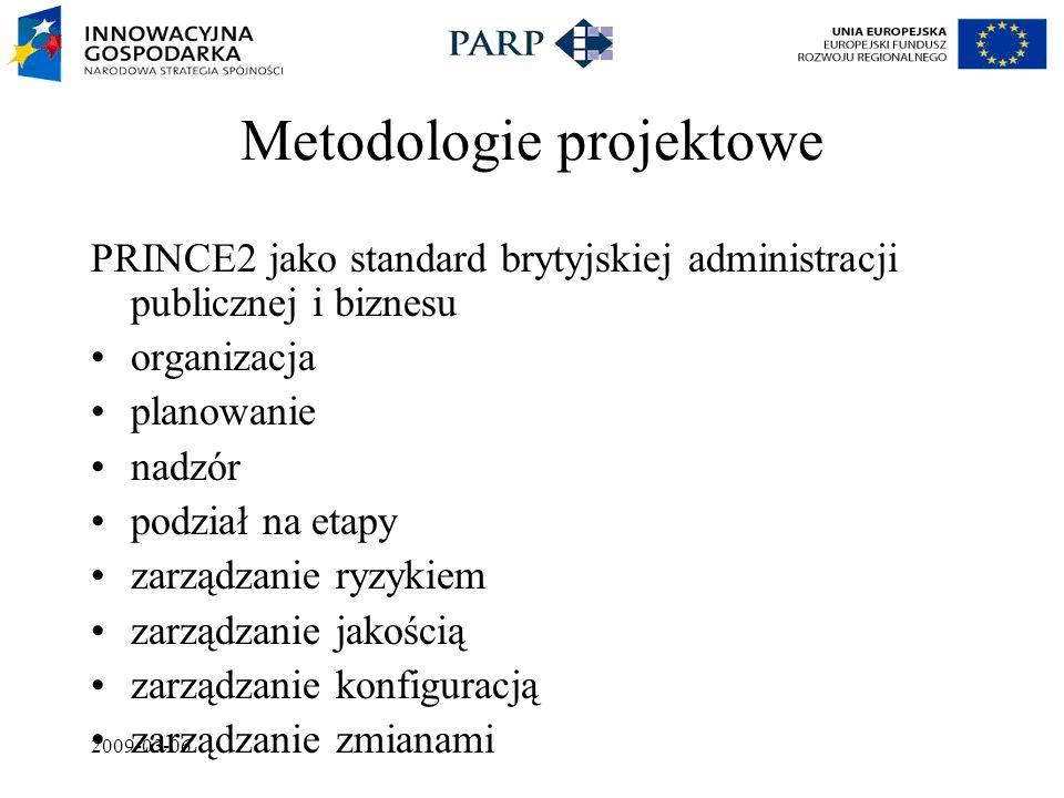 2009-03-06 Metodologie projektowe PRINCE2 jako standard brytyjskiej administracji publicznej i biznesu organizacja planowanie nadzór podział na etapy zarządzanie ryzykiem zarządzanie jakością zarządzanie konfiguracją zarządzanie zmianami