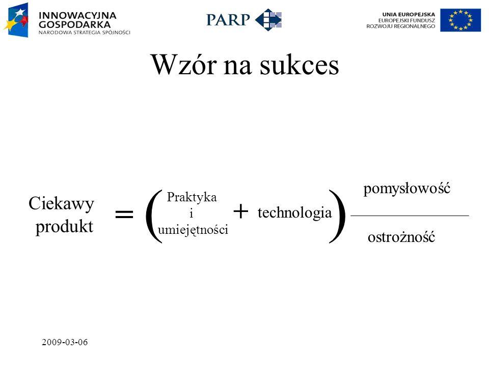 2009-03-06 ( ) Wzór na sukces technologia Praktyka i umiejętności + = Ciekawy produkt pomysłowość ostrożność