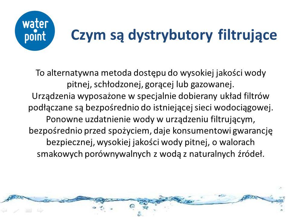 Główne korzyści systemu Ekonomia Tani i nieograniczony dostęp do krystalicznie czystej świeżej wody pitnej Komfort Woda schłodzona, gorąca lub gazowana w każdej chwili Zdrowie Prawidłowe nawodnienie organizmu Ekologia Nie zaśmieca opakowaniami.