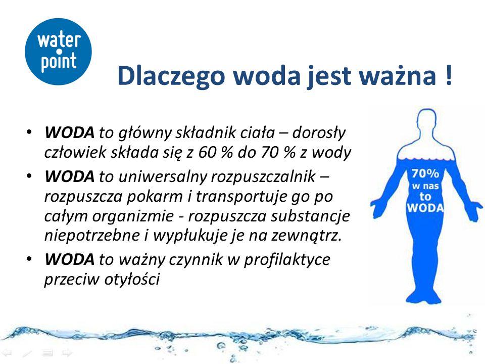 WODA - pomaga w utrzymaniu prawidłowych funkcji fizycznych i poznawczych WODA - pomaga w utrzymaniu prawidłowej regulacji temperatury organizmu Zaleca się aby spożywać dziennie co najmniej 2,0 l wody z różnych źródeł