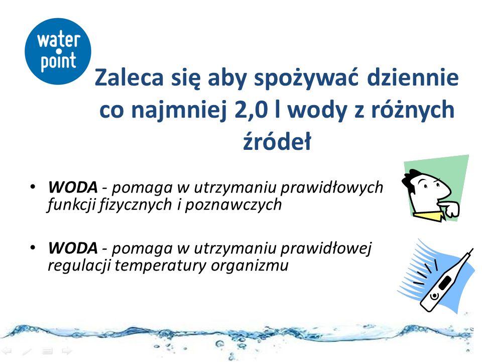 WODA - pomaga w utrzymaniu prawidłowych funkcji fizycznych i poznawczych WODA - pomaga w utrzymaniu prawidłowej regulacji temperatury organizmu Zaleca