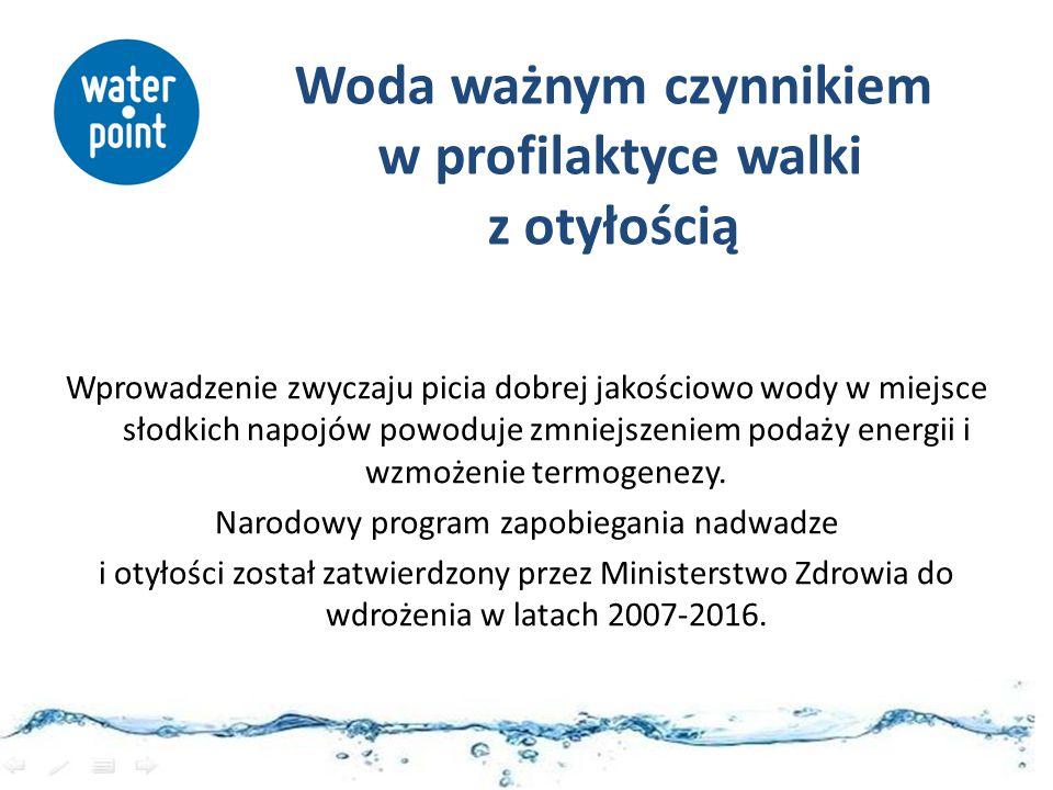 Woda ważnym czynnikiem w profilaktyce walki z otyłością Wprowadzenie zwyczaju picia dobrej jakościowo wody w miejsce słodkich napojów powoduje zmniejs