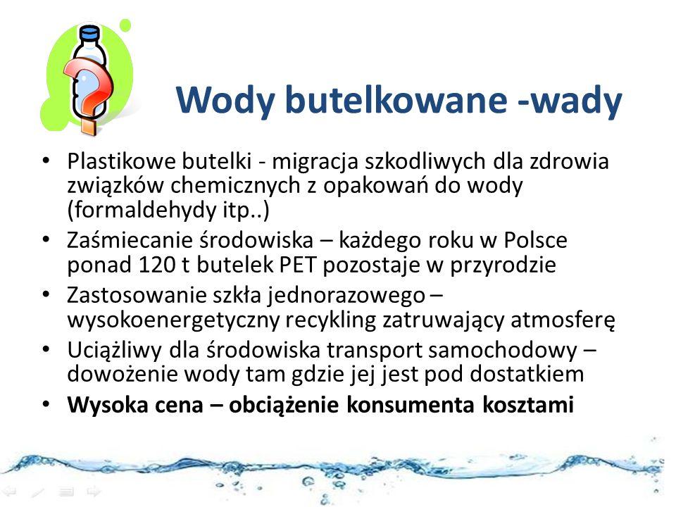 Wody butelkowane -wady Plastikowe butelki - migracja szkodliwych dla zdrowia związków chemicznych z opakowań do wody (formaldehydy itp..) Zaśmiecanie