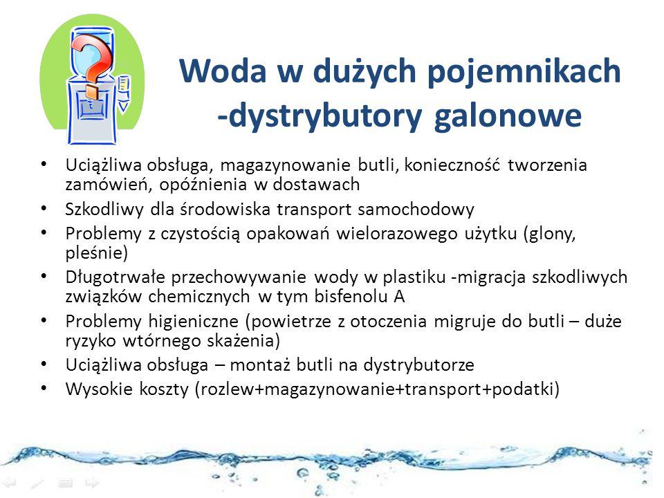 Woda w dużych pojemnikach -dystrybutory galonowe Uciążliwa obsługa, magazynowanie butli, konieczność tworzenia zamówień, opóźnienia w dostawach Szkodl