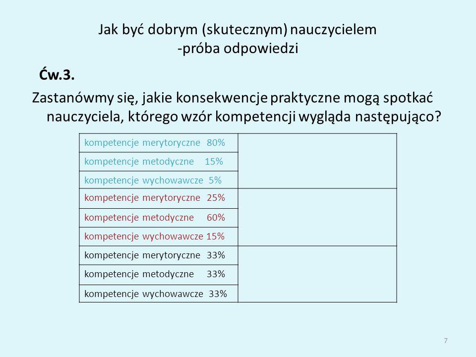 Jak być dobrym (skutecznym) nauczycielem -próba odpowiedzi Mysłakowski uważa, że podstawą efektywności oddziaływań nauczyciela na ucznia jest zespół cech osobistych określanych mianem kontaktowości.