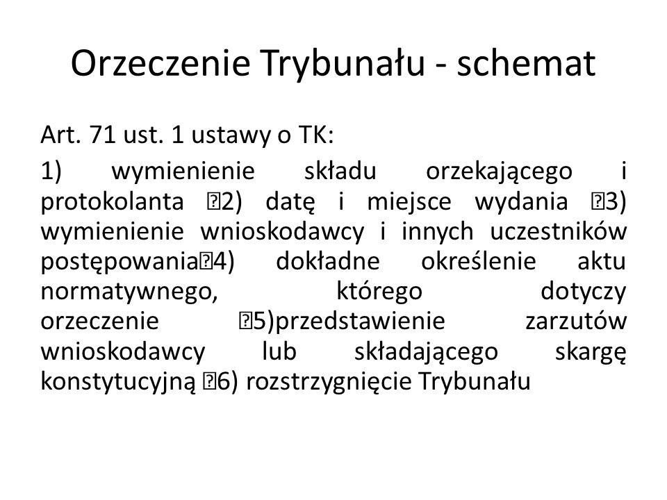 Orzeczenie Trybunału - schemat Art. 71 ust. 1 ustawy o TK: 1) wymienienie składu orzekającego i protokolanta 2) datę i miejsce wydania 3) wymienienie