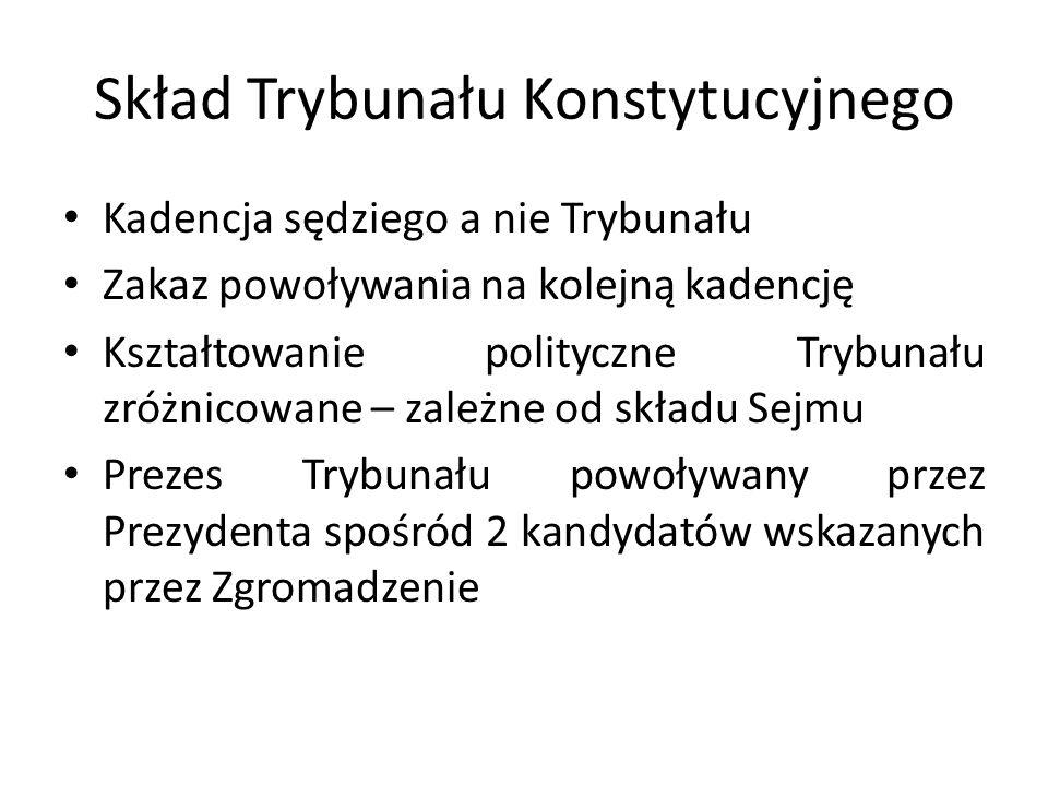 Skład Trybunału Konstytucyjnego Kadencja sędziego a nie Trybunału Zakaz powoływania na kolejną kadencję Kształtowanie polityczne Trybunału zróżnicowan