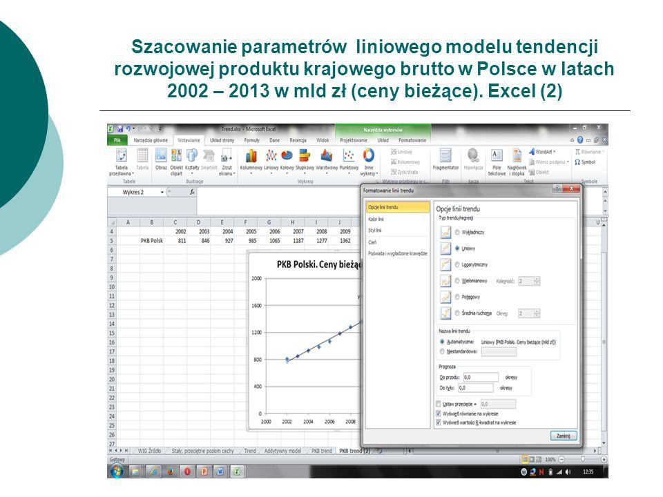 Szacowanie parametrów liniowego modelu tendencji rozwojowej produktu krajowego brutto w Polsce w latach 2002 – 2013 w mld zł (ceny bieżące). Excel (2)