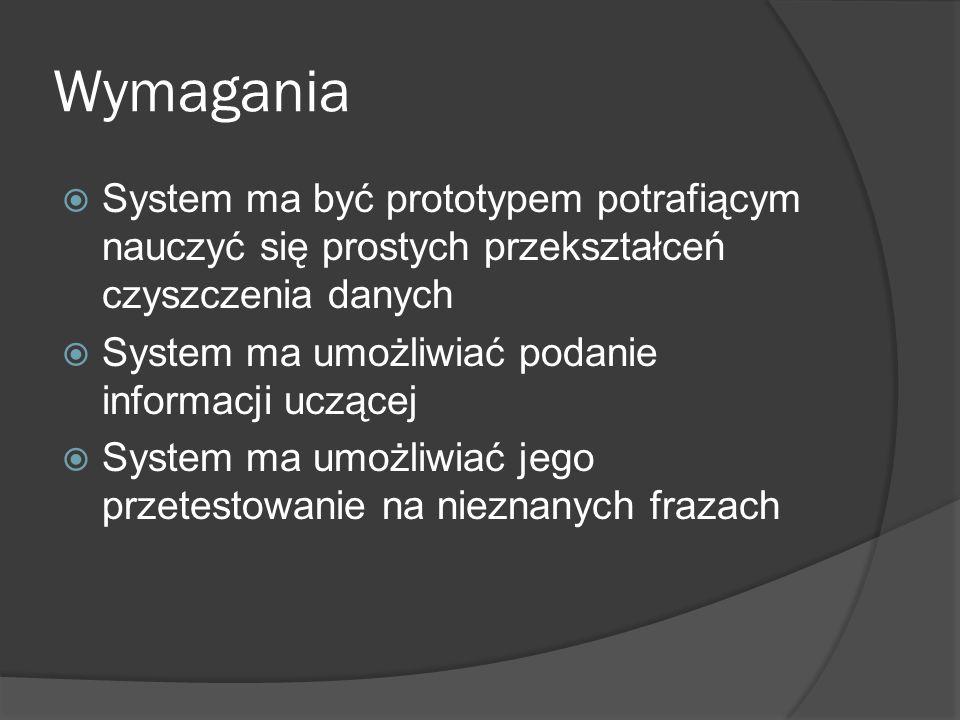Wymagania  System ma być prototypem potrafiącym nauczyć się prostych przekształceń czyszczenia danych  System ma umożliwiać podanie informacji uczącej  System ma umożliwiać jego przetestowanie na nieznanych frazach