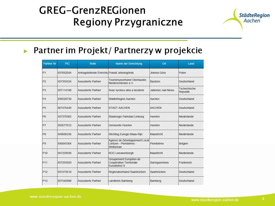 www.staedteregion-aachen.de GREG-GrenzREGionen Regiony Przygraniczne www.staedteregion-aachen.de 2 ▶ Partner im Projekt/ Partnerzy w projekcie