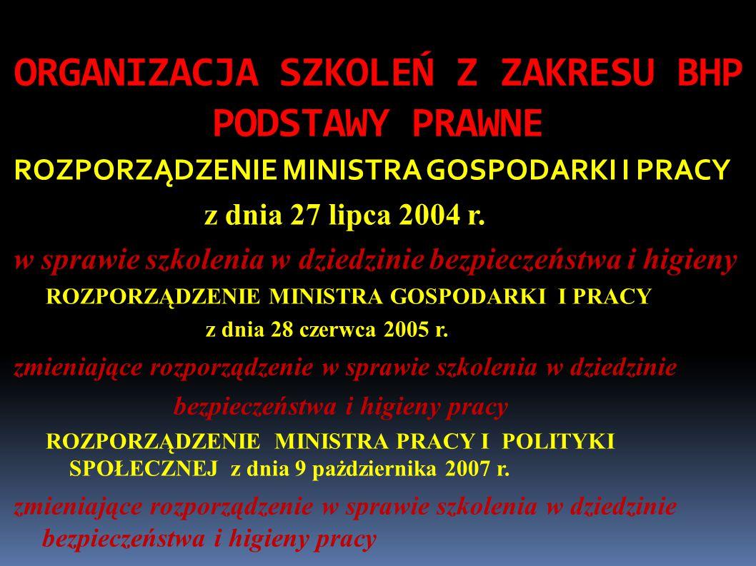 ORGANIZACJA SZKOLEŃ Z ZAKRESU BHP PODSTAWY PRAWNE ROZPORZĄDZENIE MINISTRA GOSPODARKI I PRACY z dnia 27 lipca 2004 r.