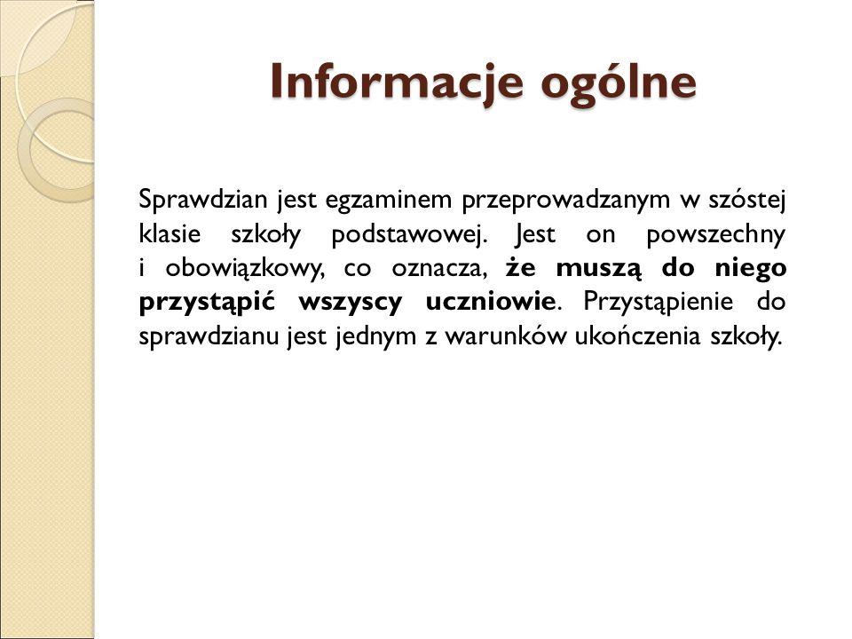 Informacje ogólne Sprawdzianu nie można nie zdać.Wynik ma znaczenie tylko informacyjne.