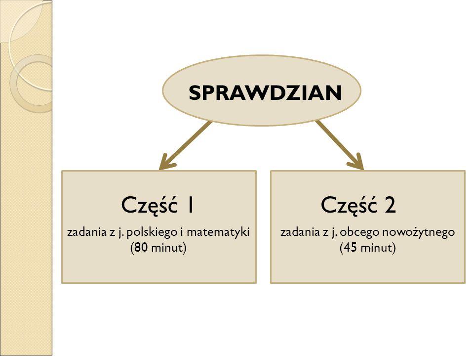 SPRAWDZIAN Część 1 zadania z j. polskiego i matematyki (80 minut) Część 2 zadania z j. obcego nowożytnego (45 minut)