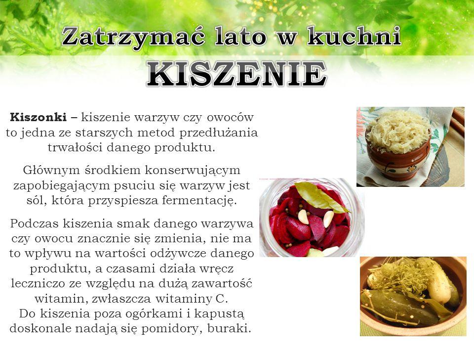 Kiszonki – kiszenie warzyw czy owoców to jedna ze starszych metod przedłużania trwałości danego produktu. Głównym środkiem konserwującym zapobiegający