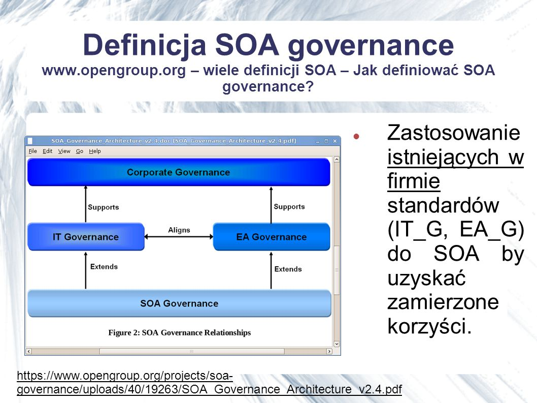 Wyrazisty cytat Without SOA governance, you end up in a Web services version of DLL hell Roman Stanek - chief software architect and founder of SOA registry provider Systinet.
