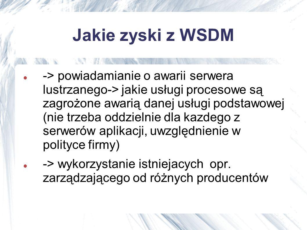 Jakie zyski z WSDM -> powiadamianie o awarii serwera lustrzanego-> jakie usługi procesowe są zagrożone awarią danej usługi podstawowej (nie trzeba oddzielnie dla kazdego z serwerów aplikacji, uwzględnienie w polityce firmy) -> wykorzystanie istniejacych opr.