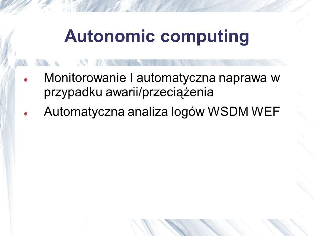 Autonomic computing Monitorowanie I automatyczna naprawa w przypadku awarii/przeciążenia Automatyczna analiza logów WSDM WEF