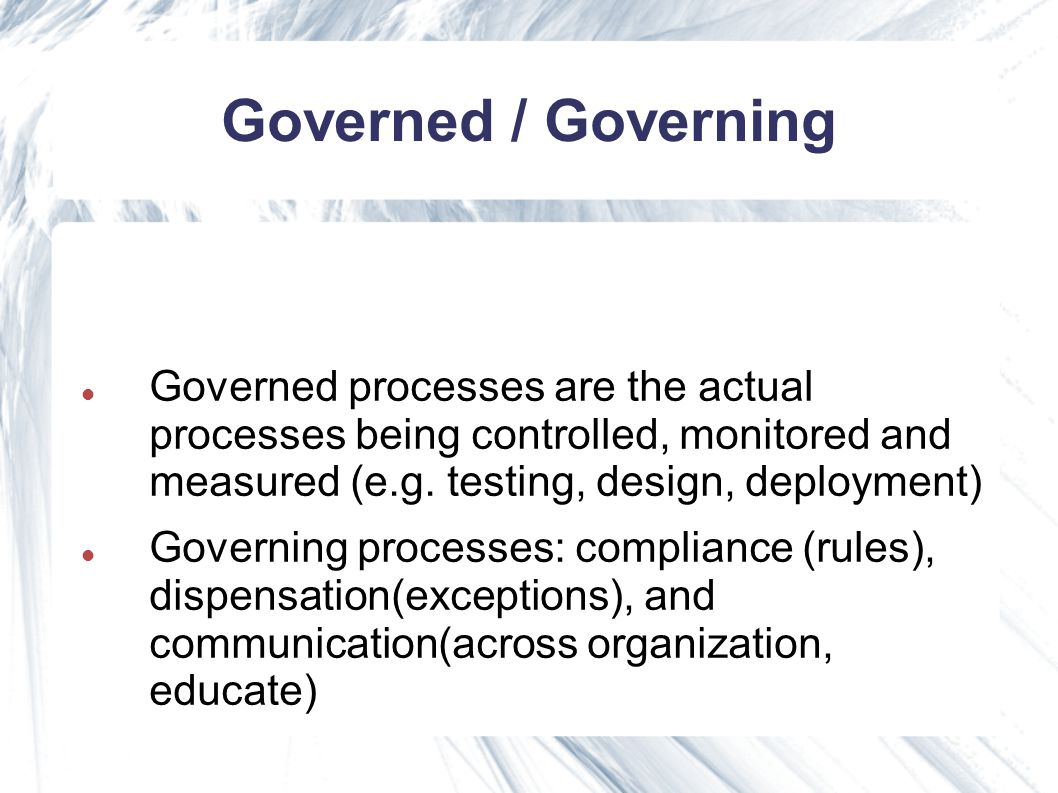Governed processes plan/prio solutions (proc.biz) (using new or existing services) plan/prio new services development, deployment and management