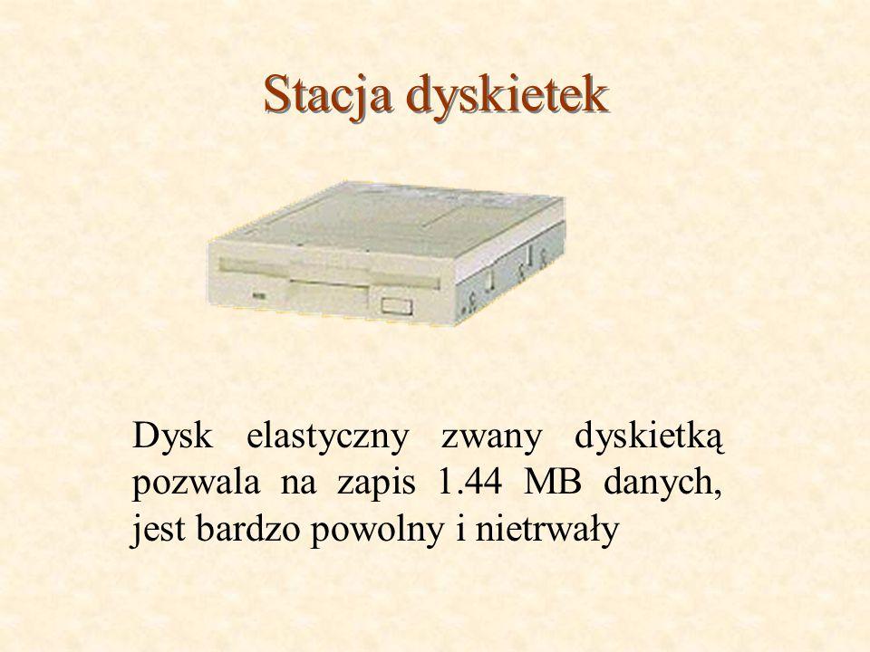 Stacja dyskietek Dysk elastyczny zwany dyskietką pozwala na zapis 1.44 MB danych, jest bardzo powolny i nietrwały
