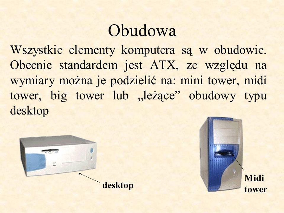 Obudowa Wszystkie elementy komputera są w obudowie.