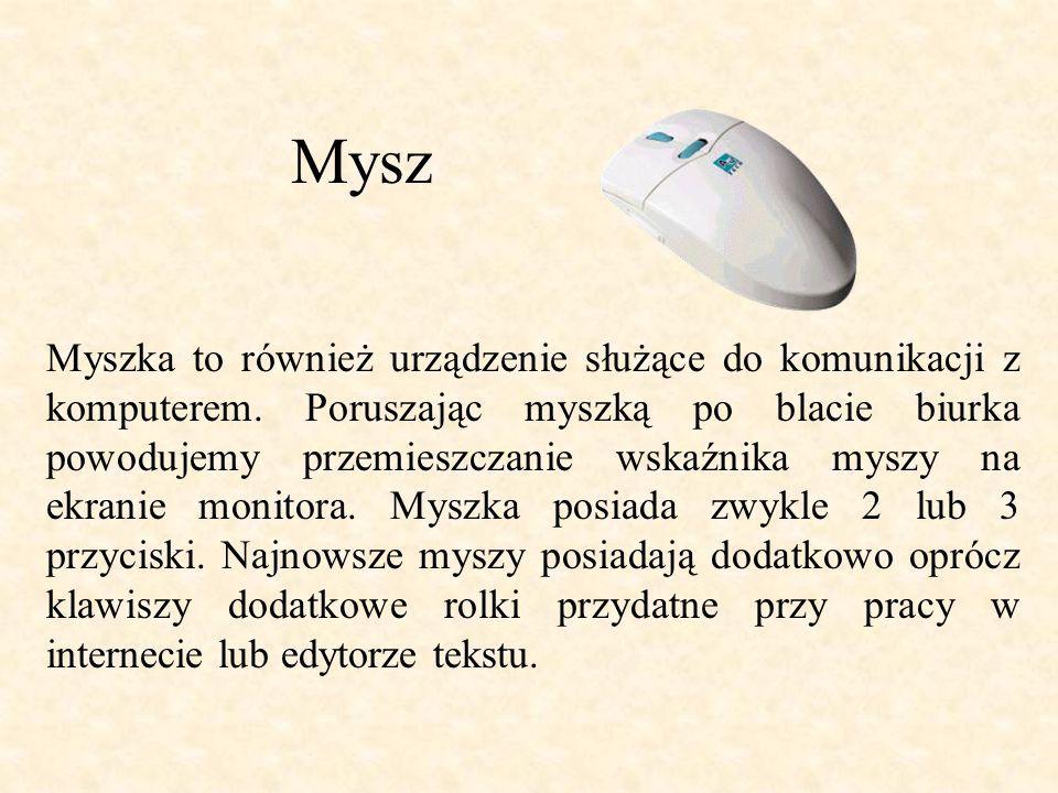 Mysz Myszka to również urządzenie służące do komunikacji z komputerem.