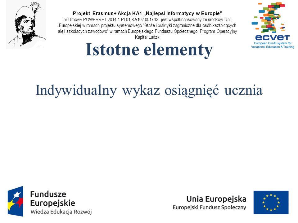 """Projekt Erasmus+ Akcja KA1 """"Najlepsi Informatycy w Europie"""" nr Umowy POWERVET-2014-1-PL01-KA102-001713 jest współfinansowany ze środków Unii Europejsk"""