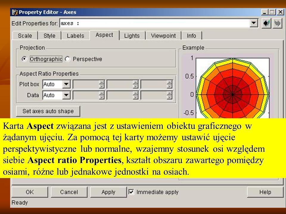 Karta Aspect związana jest z ustawieniem obiektu graficznego w żądanym ujęciu.