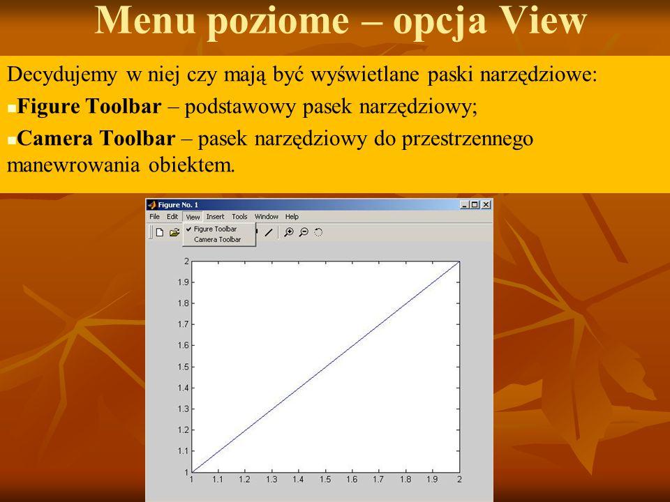 Menu poziome – opcja View Decydujemy w niej czy mają być wyświetlane paski narzędziowe: Figure Toolbar – podstawowy pasek narzędziowy; Camera Toolbar – pasek narzędziowy do przestrzennego manewrowania obiektem.