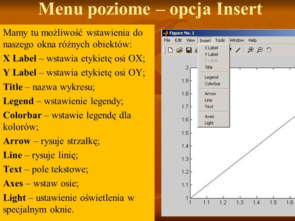 Menu poziome – opcja Insert Mamy tu możliwość wstawienia do naszego okna różnych obiektów: X Label – wstawia etykietę osi OX; Y Label – wstawia etykietę osi OY; Title – nazwa wykresu; Legend – wstawienie legendy; Colorbar – wstawie legendę dla kolorów; Arrow – rysuje strzałkę; Line – rysuje linię; Text – pole tekstowe; Axes – wstaw osie; Light – ustawienie oświetlenia w specjalnym oknie.