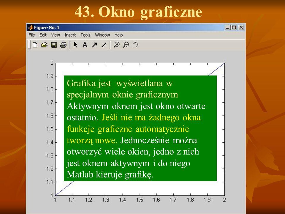 43. Okno graficzne Grafika jest wyświetlana w specjalnym oknie graficznym Aktywnym oknem jest okno otwarte ostatnio. Jeśli nie ma żadnego okna funkcje