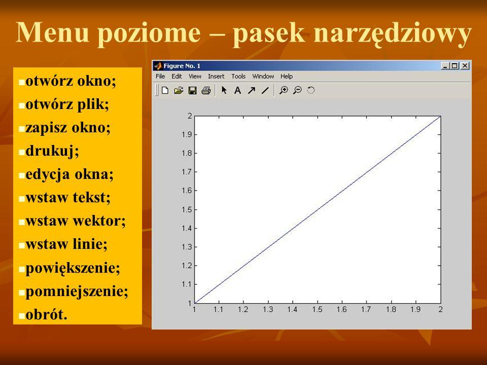 Menu poziome – pasek narzędziowy otwórz okno; otwórz plik; zapisz okno; drukuj; edycja okna; wstaw tekst; wstaw wektor; wstaw linie; powiększenie; pomniejszenie; obrót.