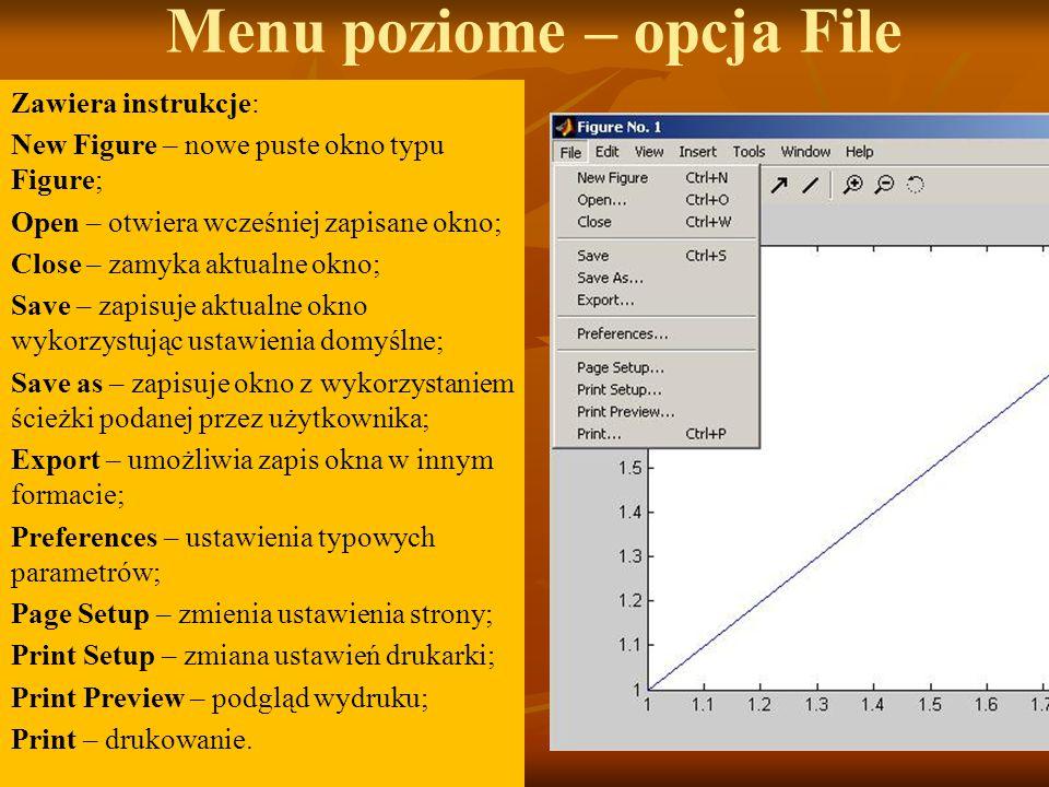 Menu poziome – opcja File Zawiera instrukcje: New Figure – nowe puste okno typu Figure; Open – otwiera wcześniej zapisane okno; Close – zamyka aktualne okno; Save – zapisuje aktualne okno wykorzystując ustawienia domyślne; Save as – zapisuje okno z wykorzystaniem ścieżki podanej przez użytkownika; Export – umożliwia zapis okna w innym formacie; Preferences – ustawienia typowych parametrów; Page Setup – zmienia ustawienia strony; Print Setup – zmiana ustawień drukarki; Print Preview – podgląd wydruku; Print – drukowanie.