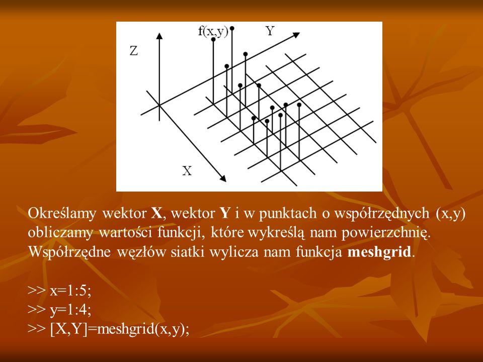 Określamy wektor X, wektor Y i w punktach o współrzędnych (x,y) obliczamy wartości funkcji, które wykreślą nam powierzchnię.