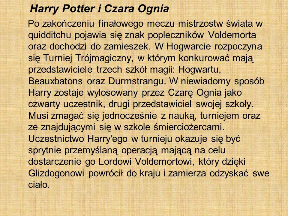 Harry Potter i Czara Ognia Po zakończeniu finałowego meczu mistrzostw świata w quidditchu pojawia się znak popleczników Voldemorta oraz dochodzi do za