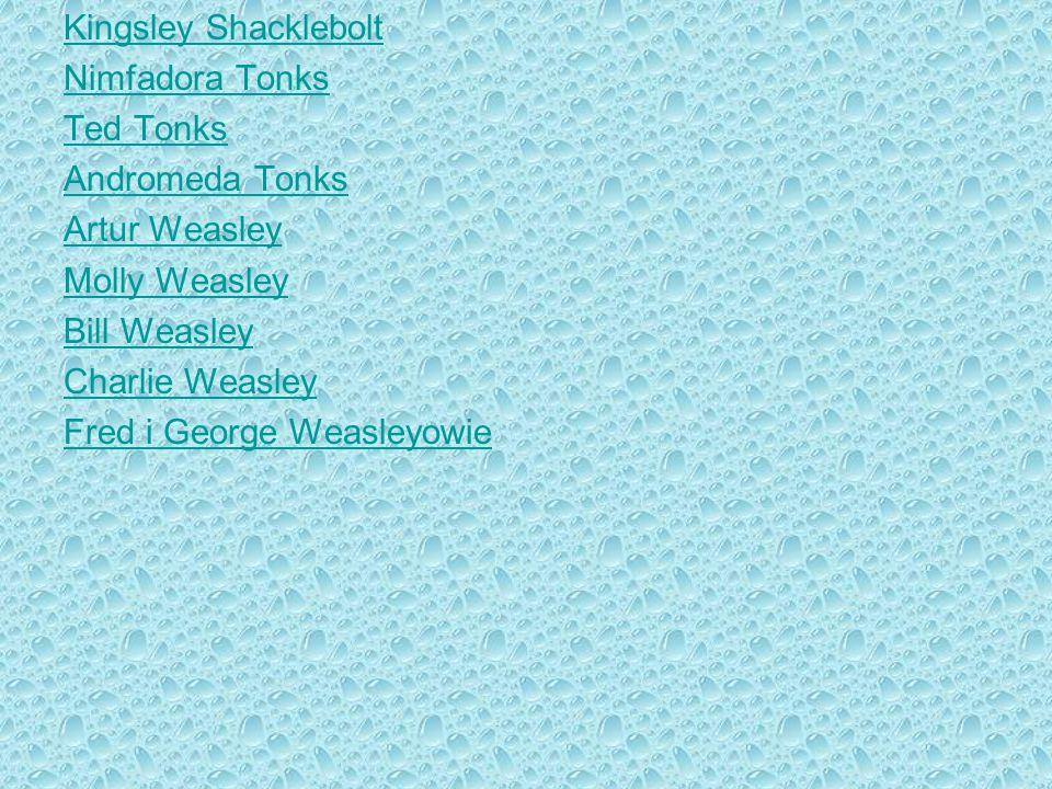 Kingsley Shacklebolt Nimfadora Tonks Ted Tonks Andromeda Tonks Artur Weasley Molly Weasley Bill Weasley Charlie Weasley Fred i George Weasleyowie