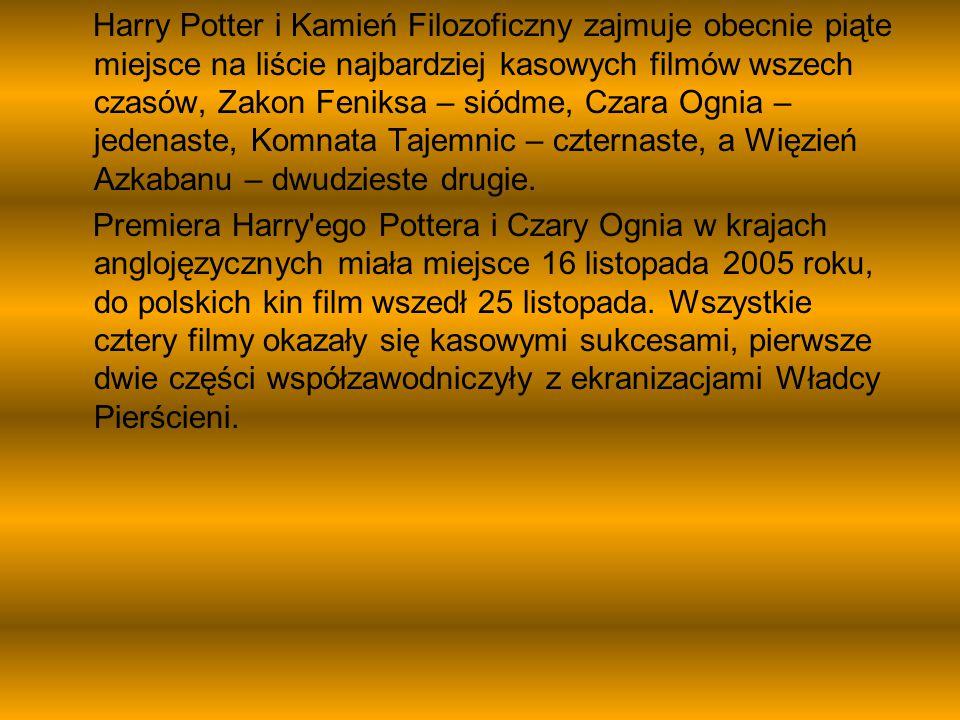 Harry Potter i Kamień Filozoficzny zajmuje obecnie piąte miejsce na liście najbardziej kasowych filmów wszech czasów, Zakon Feniksa – siódme, Czara Og