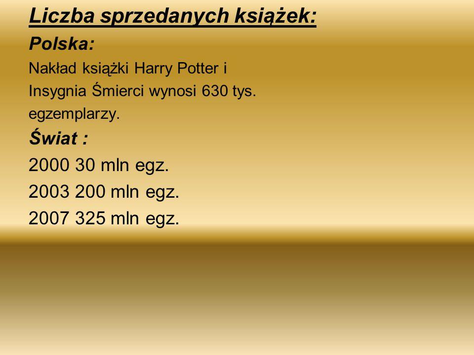 Liczba sprzedanych książek: Polska: Nakład książki Harry Potter i Insygnia Śmierci wynosi 630 tys. egzemplarzy. Świat : 2000 30 mln egz. 2003 200 mln