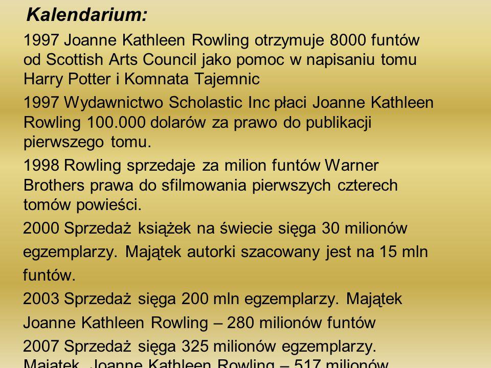 Kalendarium: 1997 Joanne Kathleen Rowling otrzymuje 8000 funtów od Scottish Arts Council jako pomoc w napisaniu tomu Harry Potter i Komnata Tajemnic 1