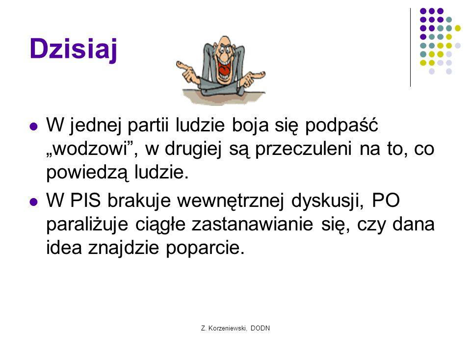 """Z. Korzeniewski, DODN Dzisiaj W jednej partii ludzie boja się podpaść """"wodzowi"""", w drugiej są przeczuleni na to, co powiedzą ludzie. W PIS brakuje wew"""