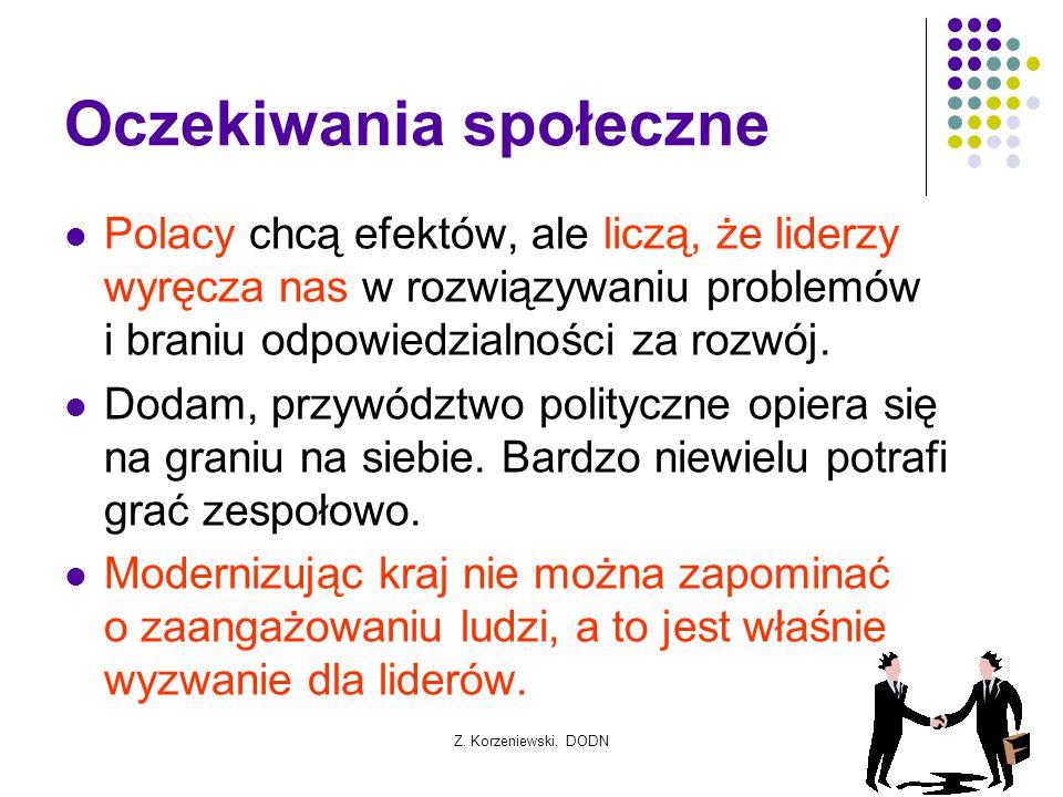 Z. Korzeniewski, DODN Oczekiwania społeczne Polacy chcą efektów, ale liczą, że liderzy wyręcza nas w rozwiązywaniu problemów i braniu odpowiedzialnośc